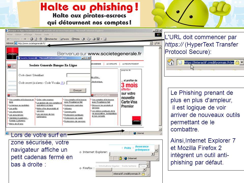 LOGO 27/11/2007 L'URL doit commencer par https:// (HyperText Transfer Protocol Secure): Lors de votre surf en zone sécurisée, votre navigateur affiche