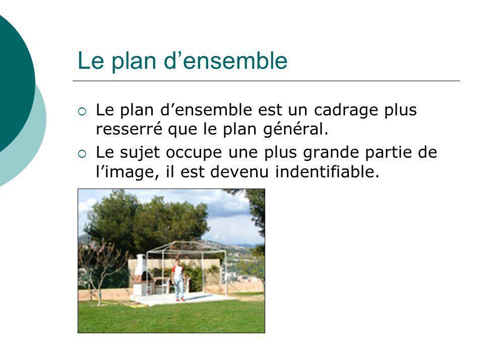 Le plan densemble Le plan densemble est un cadrage plus resserré que le plan général. Le sujet occupe une plus grande partie de limage, il est devenu
