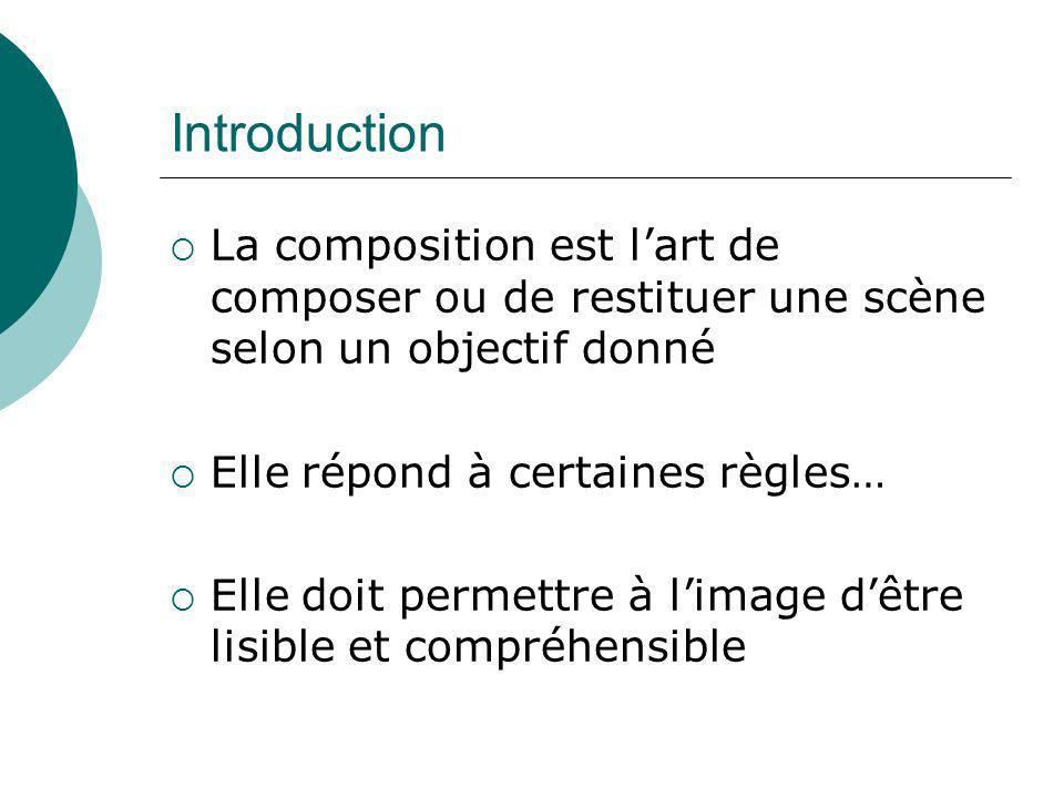 Introduction La composition est lart de composer ou de restituer une scène selon un objectif donné Elle répond à certaines règles… Elle doit permettre