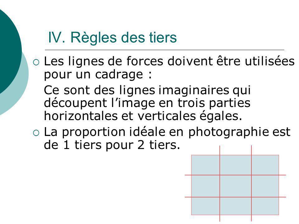 IV. Règles des tiers Les lignes de forces doivent être utilisées pour un cadrage : Ce sont des lignes imaginaires qui découpent limage en trois partie