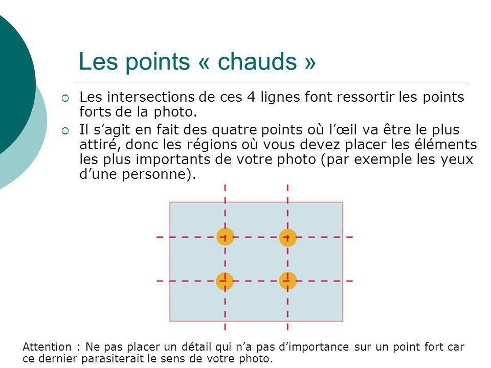 Les intersections de ces 4 lignes font ressortir les points forts de la photo. Il sagit en fait des quatre points où lœil va être le plus attiré, donc