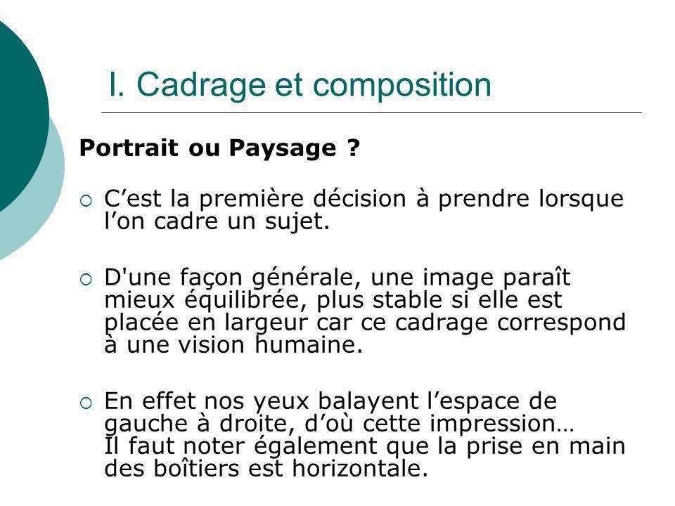 I. Cadrage et composition Portrait ou Paysage ? Cest la première décision à prendre lorsque lon cadre un sujet. D'une façon générale, une image paraît