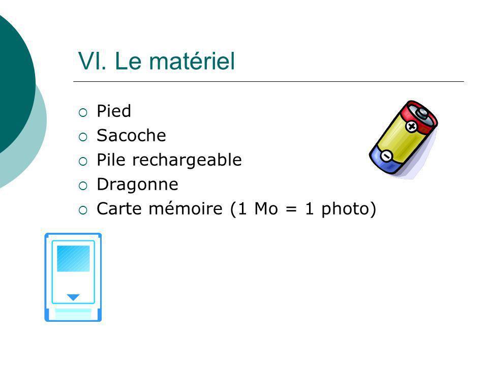 VI. Le matériel Pied Sacoche Pile rechargeable Dragonne Carte mémoire (1 Mo = 1 photo)