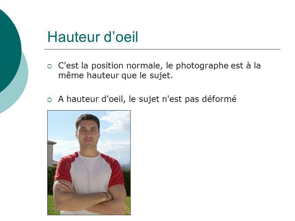 Hauteur doeil C'est la position normale, le photographe est à la même hauteur que le sujet. A hauteur d'oeil, le sujet n'est pas déformé
