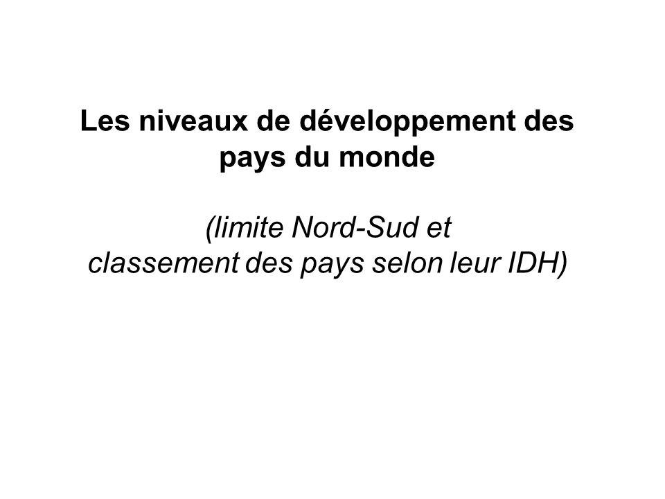 Les niveaux de développement des pays du monde (limite Nord-Sud et classement des pays selon leur IDH)