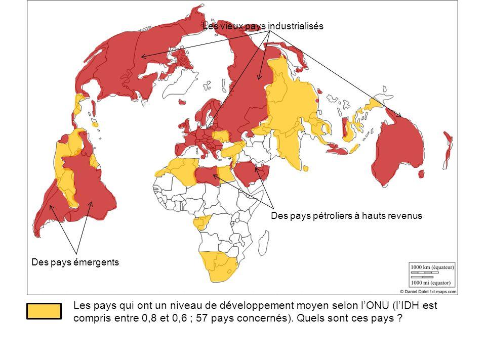 Les vieux pays industrialisés Des pays émergents Des pays pétroliers à hauts revenus Les pays qui ont un niveau de développement moyen selon lONU (lID