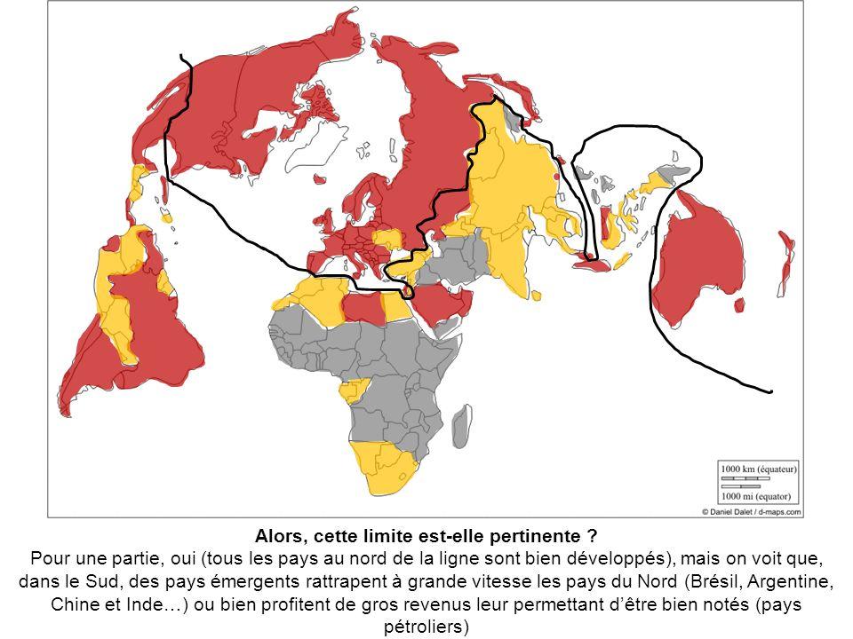 Pour une partie, oui (tous les pays au nord de la ligne sont bien développés), mais on voit que, dans le Sud, des pays émergents rattrapent à grande v