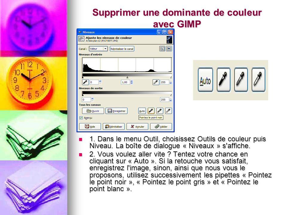 Supprimer une dominante de couleur avec GIMP 1. Dans le menu Outil, choisissez Outils de couleur puis Niveau. La boîte de dialogue « Niveaux » s'affic