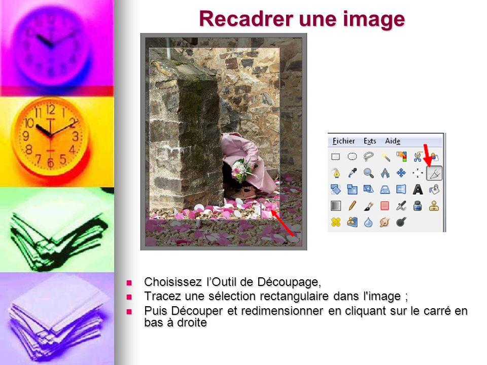 Recadrer une image Choisissez lOutil de Découpage, Choisissez lOutil de Découpage, Tracez une sélection rectangulaire dans l'image ; Tracez une sélect