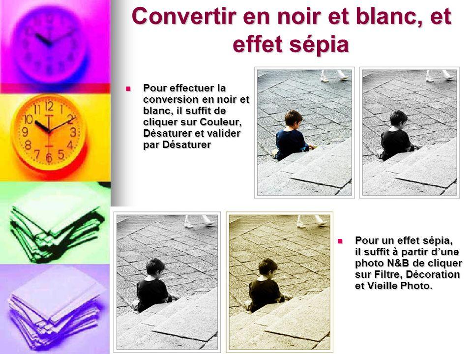 Pour effectuer la conversion en noir et blanc, il suffit de cliquer sur Couleur, Désaturer et valider par Désaturer Pour effectuer la conversion en no