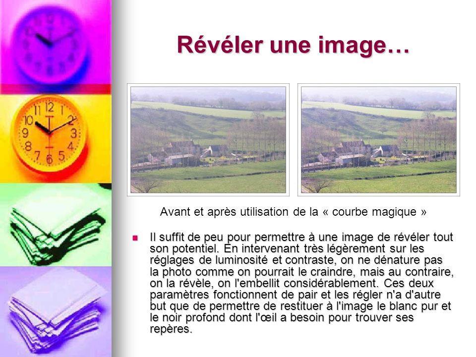 Révéler une image… Avant et après utilisation de la « courbe magique » Il suffit de peu pour permettre à une image de révéler tout son potentiel. En i