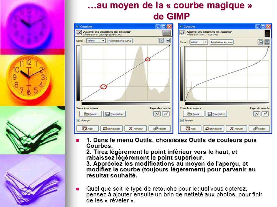 …au moyen de la « courbe magique » de GIMP 1. Dans le menu Outils, choisissez Outils de couleurs puis Courbes. 2. Tirez légèrement le point inférieur