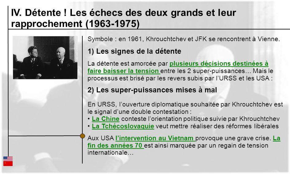 IV. Détente ! Les échecs des deux grands et leur rapprochement (1963-1975) Symbole : en 1961, Khrouchtchev et JFK se rencontrent à Vienne. 1) Les sign