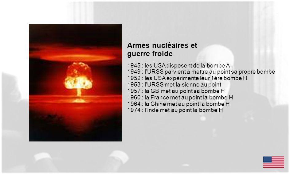 Armes nucléaires et guerre froide 1945 : les USA disposent de la bombe A 1949 : lURSS parvient à mettre au point sa propre bombe 1952 : les USA expéri