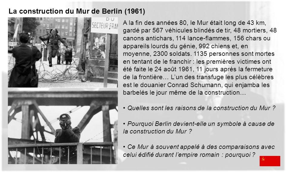 A la fin des années 80, le Mur était long de 43 km, gardé par 567 véhicules blindés de tir, 48 mortiers, 48 canons antichars, 114 lance-flammes, 156 c