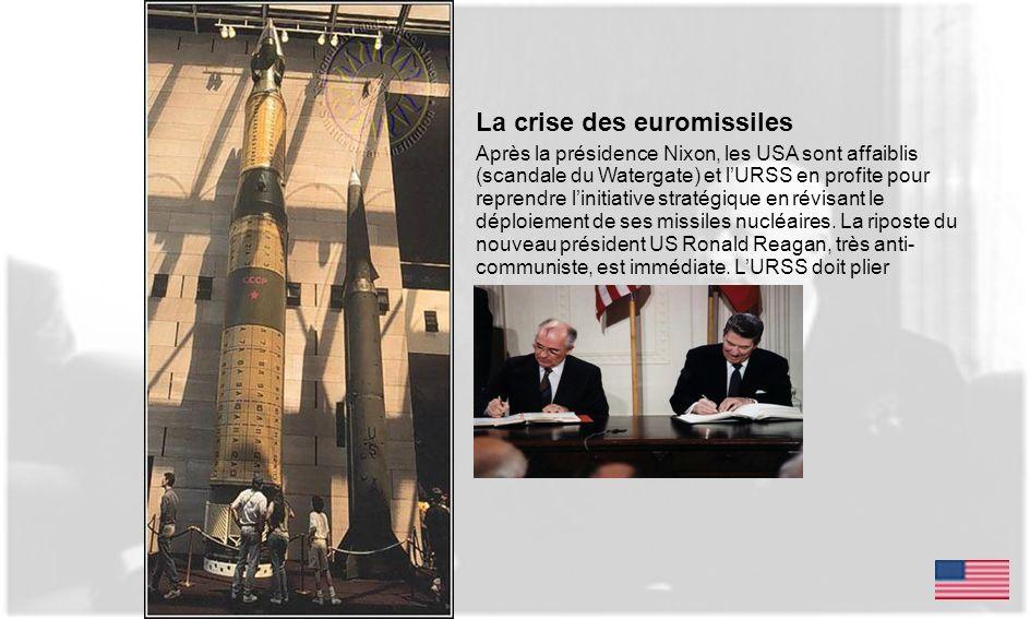 La crise des euromissiles Après la présidence Nixon, les USA sont affaiblis (scandale du Watergate) et lURSS en profite pour reprendre linitiative str