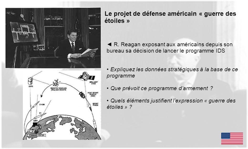 Le projet de défense américain « guerre des étoiles » R. Reagan exposant aux américains depuis son bureau sa décision de lancer le programme IDS Expli
