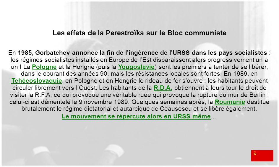 Les effets de la Perestroïka sur le Bloc communiste En 1985, Gorbatchev annonce la fin de l'ingérence de l'URSS dans les pays socialistes : les régime