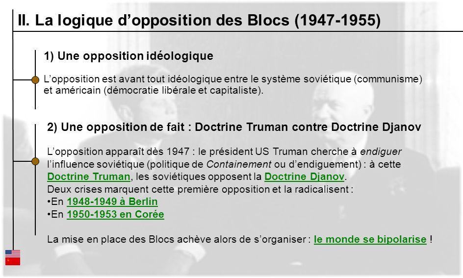 II. La logique dopposition des Blocs (1947-1955) 1) Une opposition idéologique Lopposition est avant tout idéologique entre le système soviétique (com
