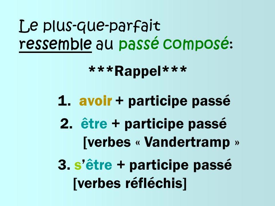 Le plus-que-parfait ressemble au passé composé: ***Rappel*** 1. avoir + participe passé 2. être + participe passé [verbes « Vandertramp » 3. sêtre + p