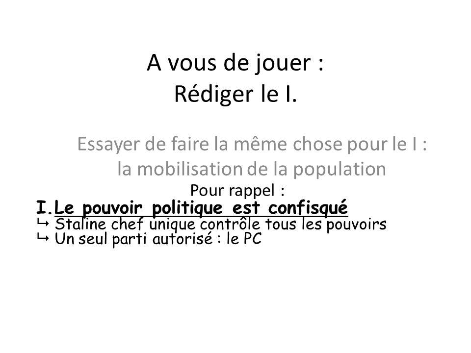 A vous de jouer : Rédiger le I. Essayer de faire la même chose pour le I : la mobilisation de la population Pour rappel : I.Le pouvoir politique est c