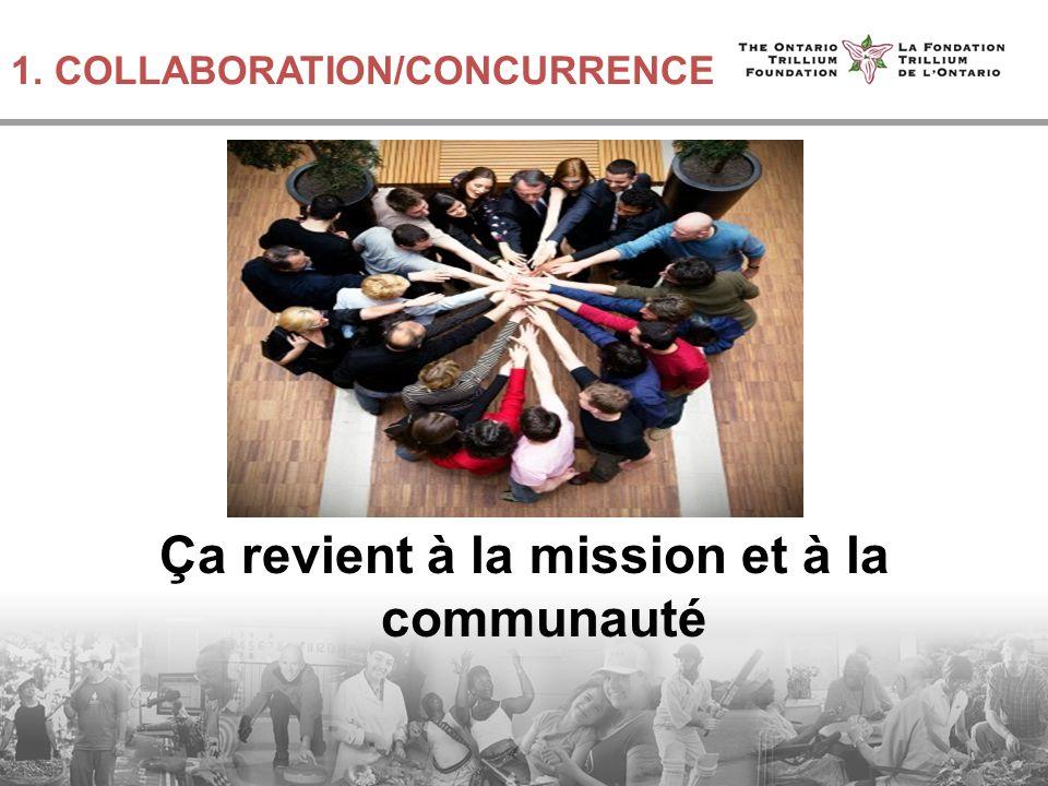 1. COLLABORATION/CONCURRENCE Ça revient à la mission et à la communauté