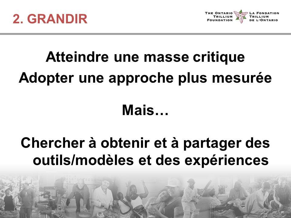 2. GRANDIR Atteindre une masse critique Adopter une approche plus mesurée Mais… Chercher à obtenir et à partager des outils/modèles et des expériences