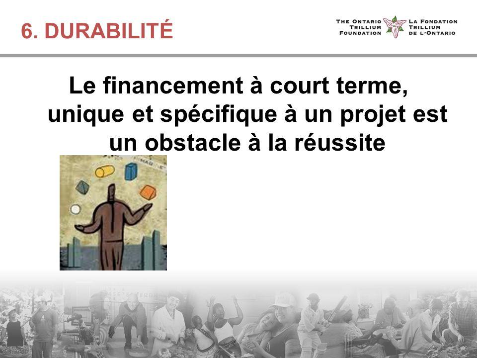 6. DURABILITÉ Le financement à court terme, unique et spécifique à un projet est un obstacle à la réussite