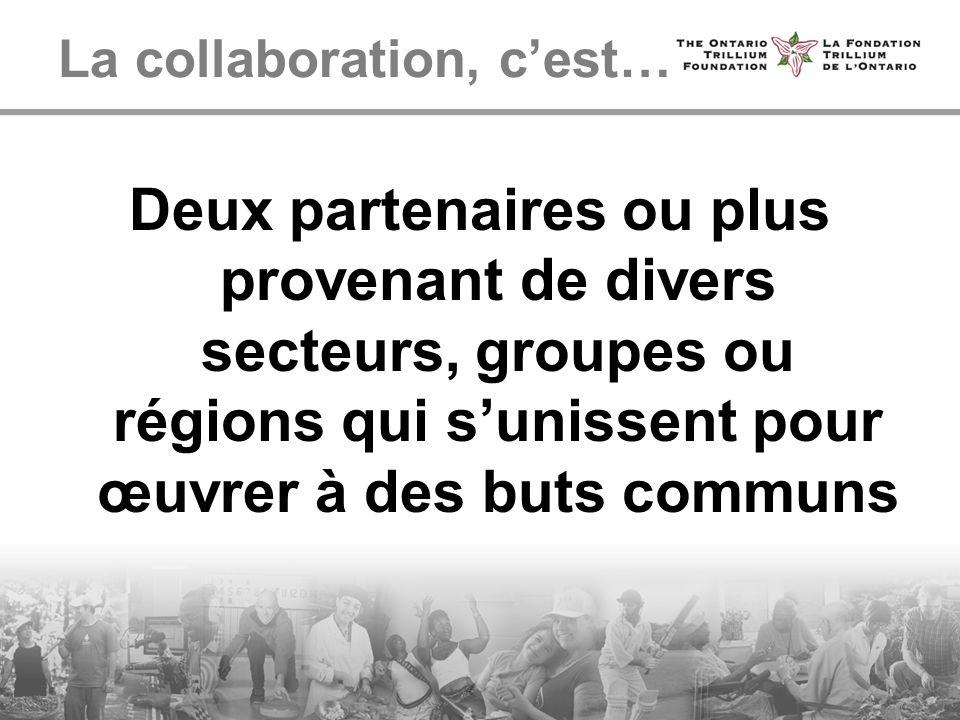 La collaboration, cest… Deux partenaires ou plus provenant de divers secteurs, groupes ou régions qui sunissent pour œuvrer à des buts communs