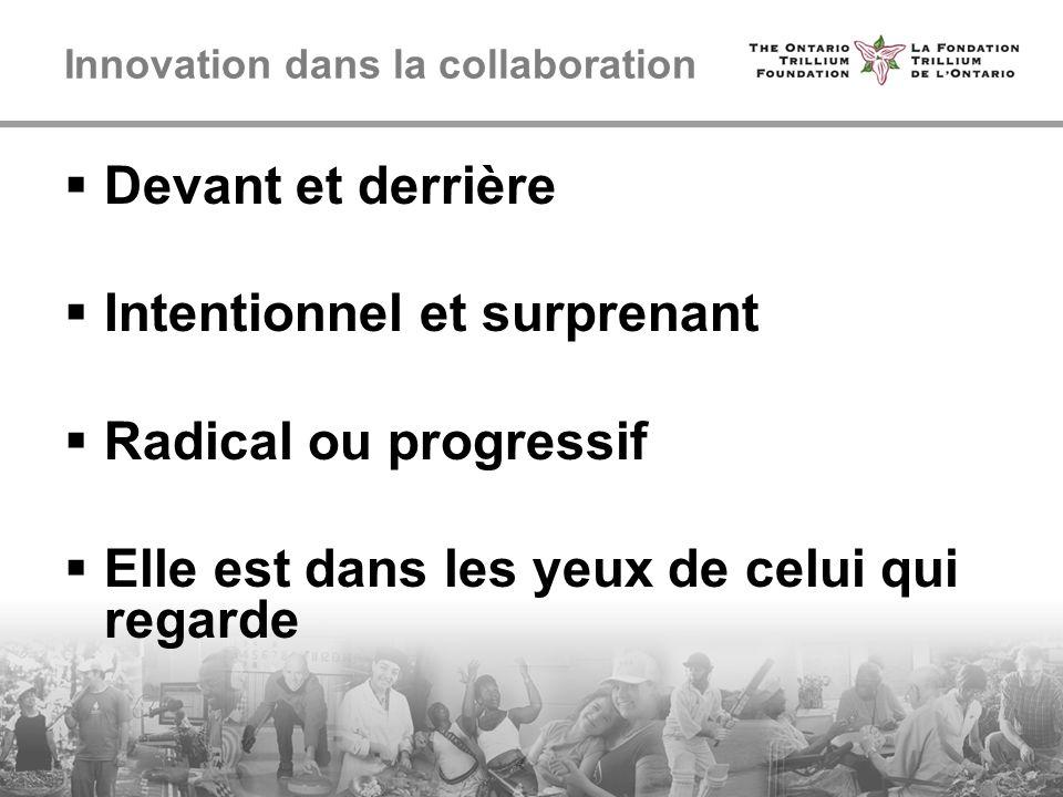 Innovation dans la collaboration Devant et derrière Intentionnel et surprenant Radical ou progressif Elle est dans les yeux de celui qui regarde