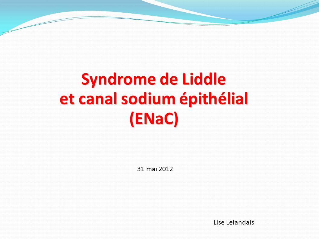 Plan Syndrome de Liddle : présentation clinique et biologique Bases génétiques du syndrome de Liddle Canal sodium épithélial (ENaC) Hyperactivation de ENaC dans le syndrome de Liddle Traitement du syndrome de Liddle Conclusion, perspectives