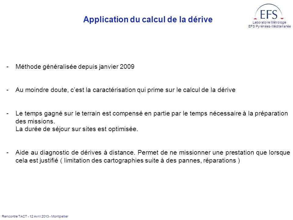Rencontre TACT - 12 Avril 2013 - Montpellier Laboratoire Métrologie EFS Pyrénées-Méditerranée Application du calcul de la dérive -Méthode généralisée