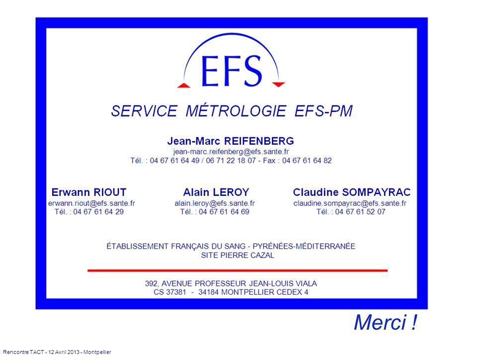 Rencontre TACT - 12 Avril 2013 - Montpellier Laboratoire Métrologie EFS Pyrénées-Méditerranée Merci !