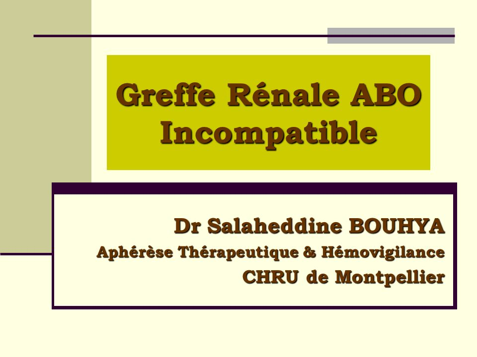 Greffe Rénale ABO Incompatible Dr Salaheddine BOUHYA Aphérèse Thérapeutique & Hémovigilance CHRU de Montpellier