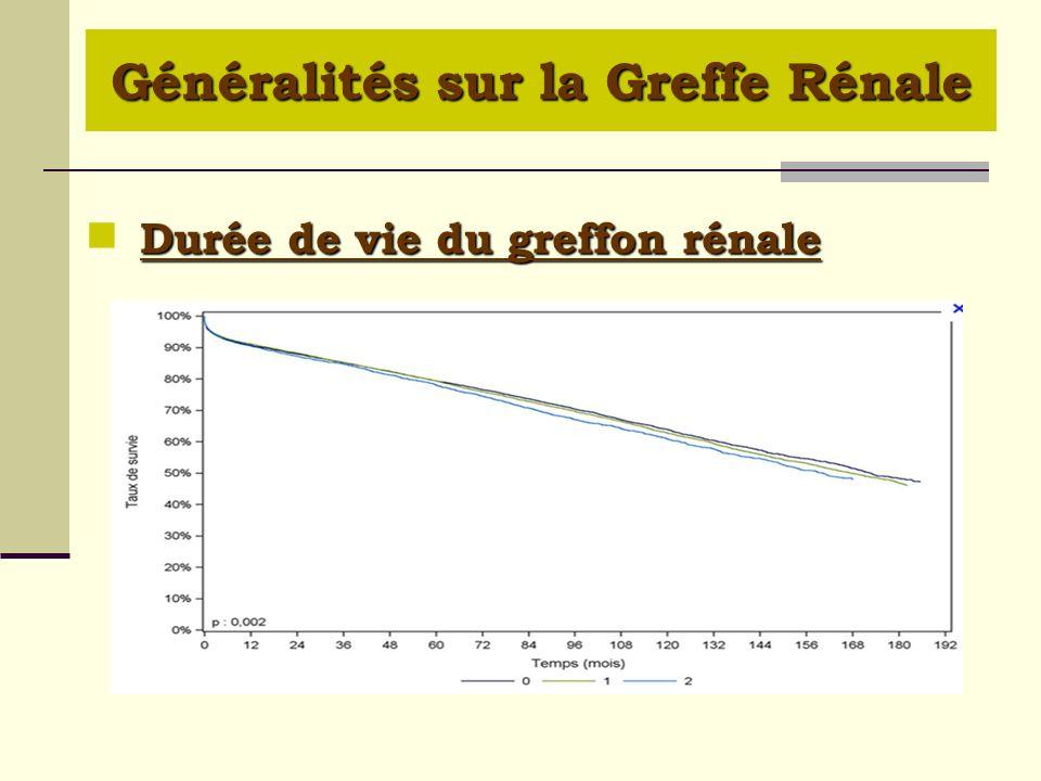 Survie du greffon rénal de donneur décédé, en fonction du nombre dincompatibilités HLA A, B et DR (greffes 1993-2009) Survie du greffon rénal de donneur décédé, en fonction du nombre dincompatibilités HLA A, B et DR (greffes 1993-2009) Généralités sur la Greffe Rénale