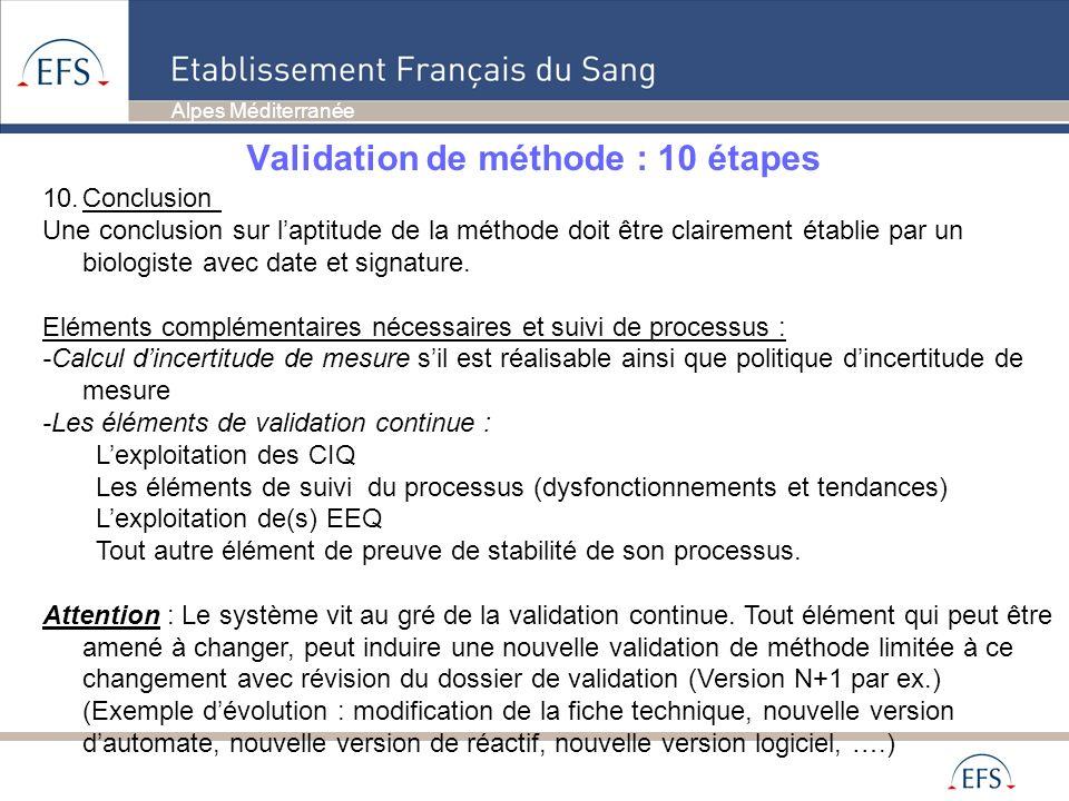 Alpes Méditerranée Validation de méthode : en pratique en EFSAM Si une méthode est adaptée, un des laboratoires de la région est chargé de la validation régionale de ladaptation.