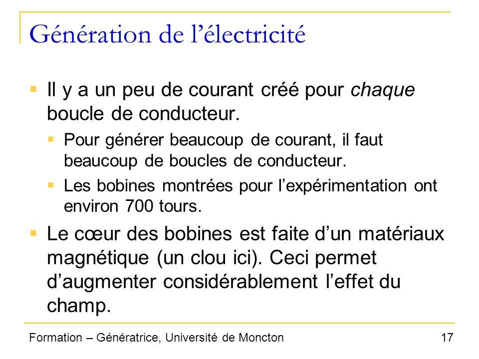 17Formation – Génératrice, Université de Moncton Génération de lélectricité Il y a un peu de courant créé pour chaque boucle de conducteur. Pour génér