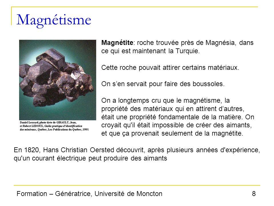8Formation – Génératrice, Université de Moncton Magnétisme Magnétite: roche trouvée près de Magnésia, dans ce qui est maintenant la Turquie. Cette roc