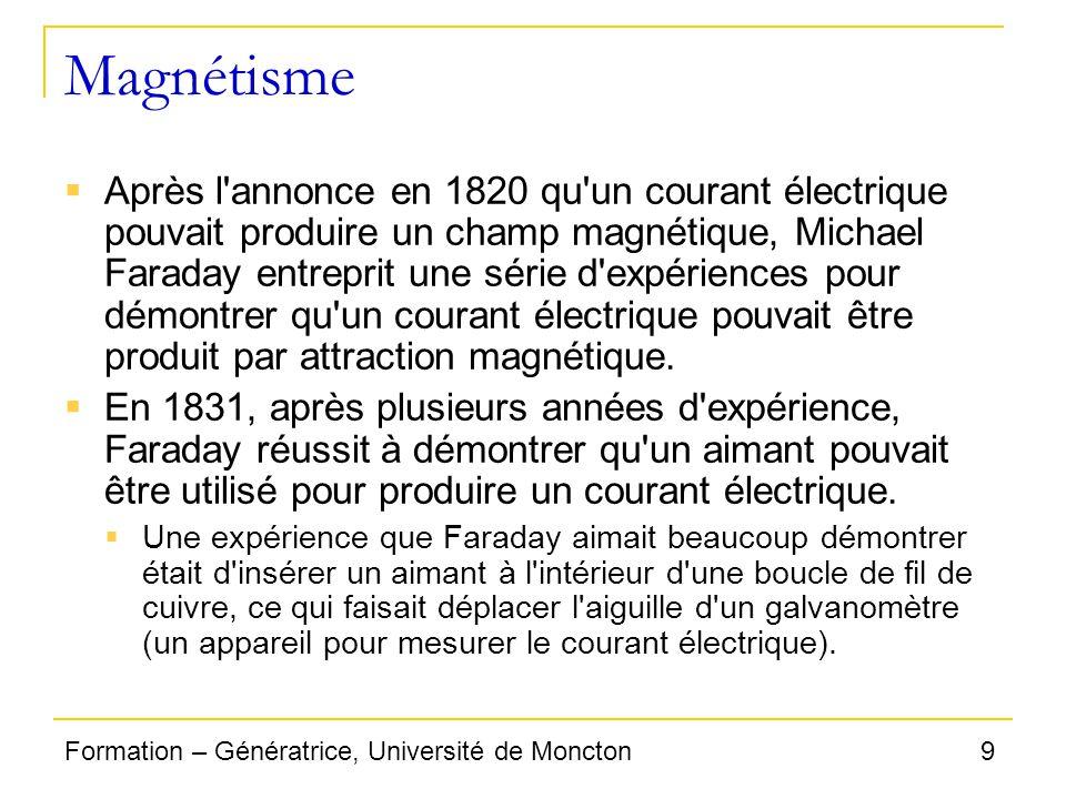 9Formation – Génératrice, Université de Moncton Magnétisme Après l'annonce en 1820 qu'un courant électrique pouvait produire un champ magnétique, Mich