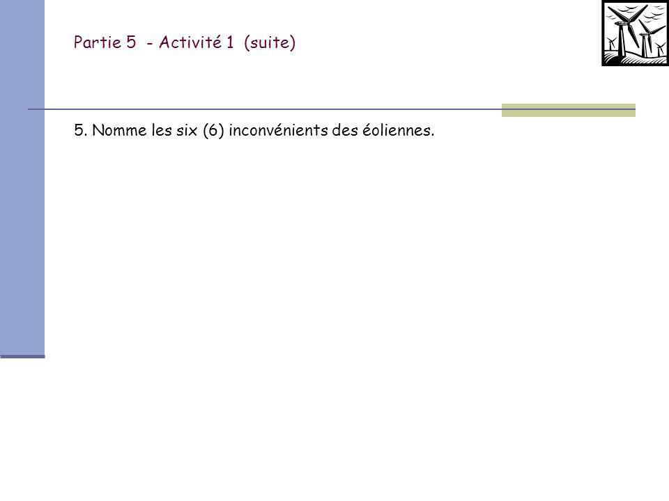 Partie 5 - Activité 1 (suite) Identifie les composantes. A: B: C: D: E: F: G: H: