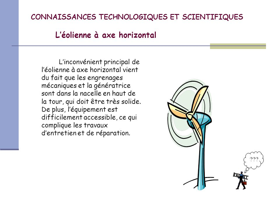 CONNAISSANCES TECHNOLOGIQUES ET SCIENTIFIQUES Léolienne à axe vertical Les éoliennes à axe vertical ont probablement été les premières utilisées.