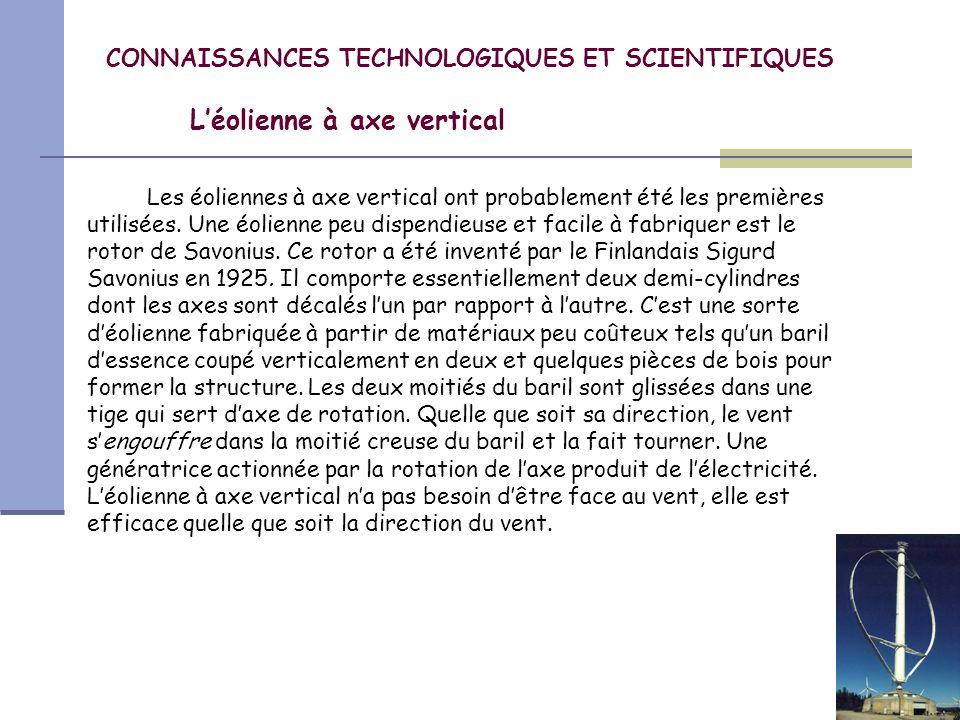 CONNAISSANCES TECHNOLOGIQUES ET SCIENTIFIQUES Léolienne à axe vertical Un autre type déolienne à axe vertical est léolienne de Darrieus.
