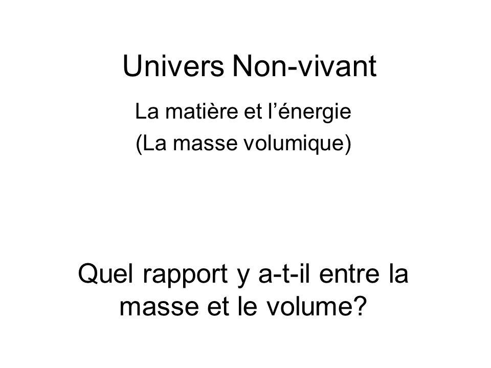 Univers Non-vivant La matière et lénergie (La masse volumique) Quel rapport y a-t-il entre la masse et le volume?