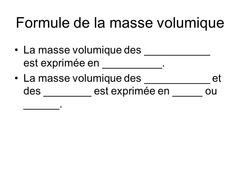 La masse volumique des ___________ est exprimée en __________. La masse volumique des ___________ et des ________ est exprimée en _____ ou ______.