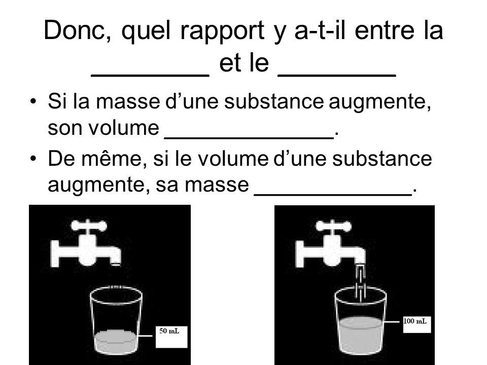 Donc, quel rapport y a-t-il entre la ________ et le ________ Si la masse dune substance augmente, son volume ______________. De même, si le volume dun