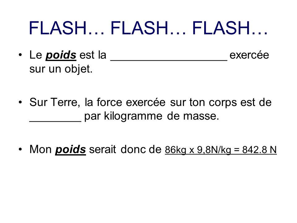 FLASH… FLASH… FLASH… Le poids est la __________________ exercée sur un objet. Sur Terre, la force exercée sur ton corps est de ________ par kilogramme