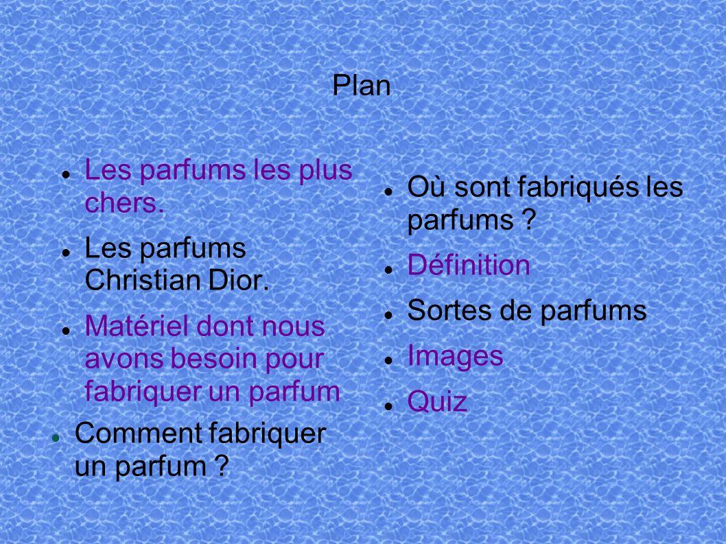 Plan Les parfums les plus chers. Les parfums Christian Dior. Matériel dont nous avons besoin pour fabriquer un parfum Où sont fabriqués les parfums ?