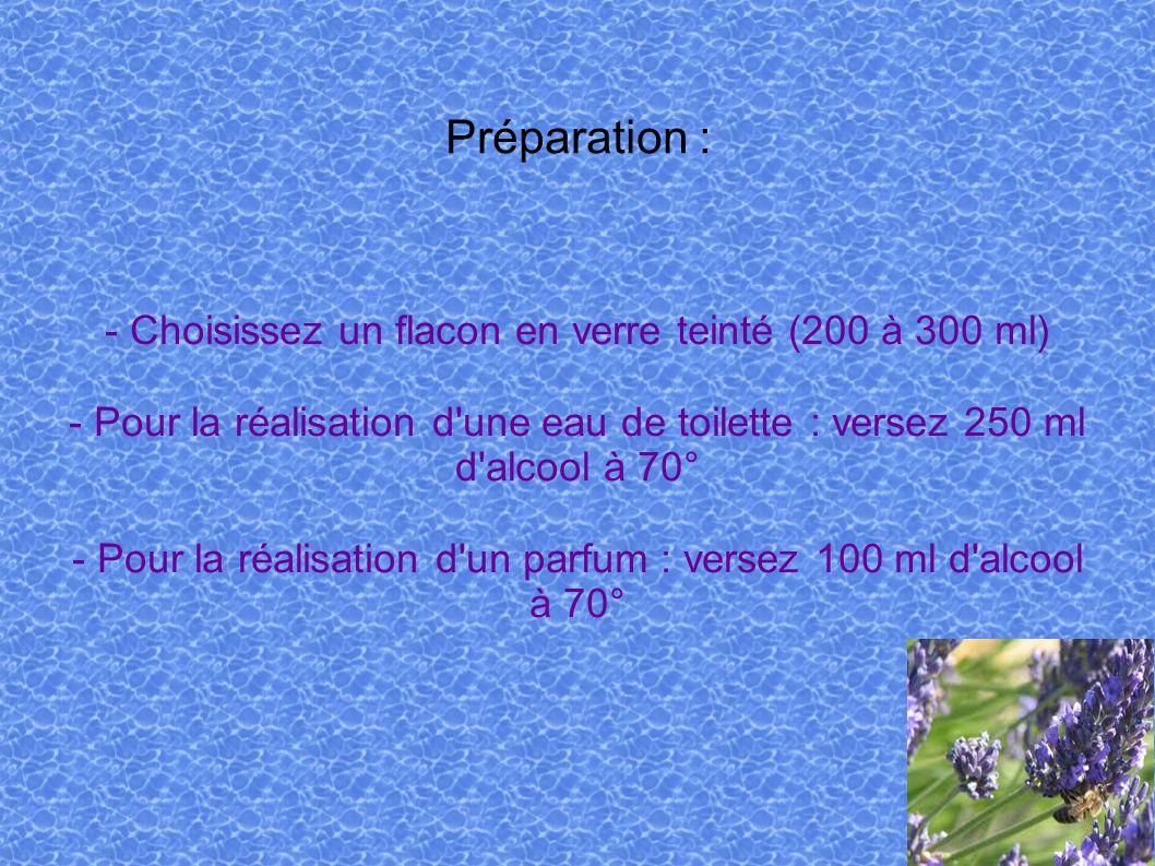 Préparation : - Choisissez un flacon en verre teinté (200 à 300 ml) - Pour la réalisation d'une eau de toilette : versez 250 ml d'alcool à 70° - Pour