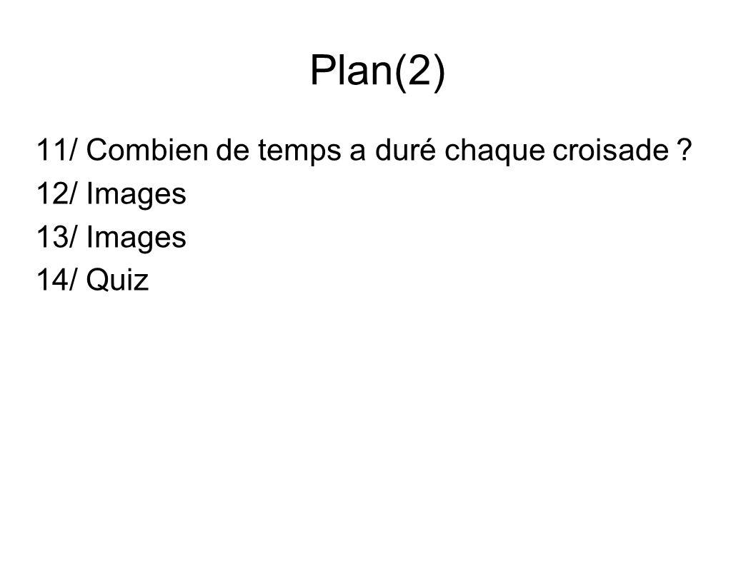 Plan(2) 11/ Combien de temps a duré chaque croisade ? 12/ Images 13/ Images 14/ Quiz