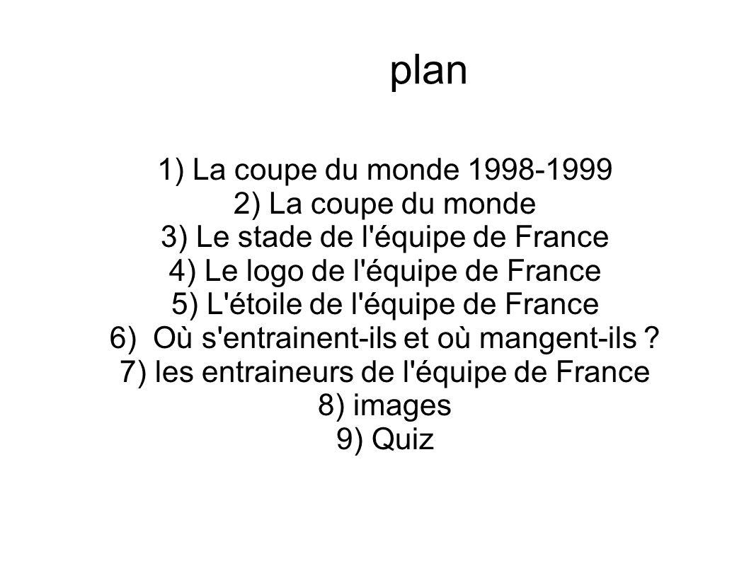 plan 1) La coupe du monde 1998-1999 2) La coupe du monde 3) Le stade de l'équipe de France 4) Le logo de l'équipe de France 5) L'étoile de l'équipe de